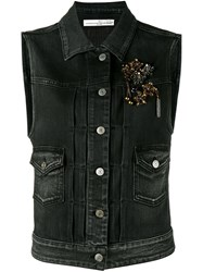 Golden Goose Deluxe Brand Jewelled Denim Gilet Black