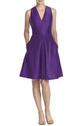 Women's Alfred Sung V Neck Dupioni Cocktail Dress Majestic