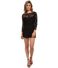 Bb Dakota Dasha Long Sleeve Lace Romper Black Women's Jumpsuit And Rompers One Piece