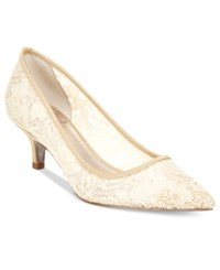 Adrianna Papell Lois Lace Pointed Toe Kitten Heel Pumps Women's Shoes Silver
