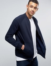 French Connection Jersey Baseball Bomber Jacket Navy