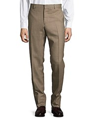 Rails Houndstooth Flat Front Pants Brown Tan