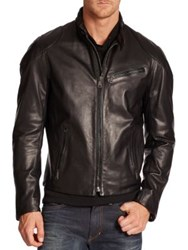 Ralph Lauren Leather Bomber Jacket Black