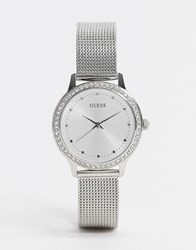 Guess Chelsea Mesh Watch In Silver