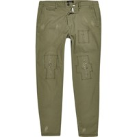 River Island Mens Khaki Green Distressed Skinny Cargo Trousers