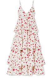 Dodo Bar Or Tiered Floral Print Crepe Dress White Gbp
