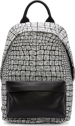 Mcq By Alexander Mcqueen Black And White Leather Woven Motif Backpack