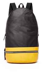 Z Zegna Popeline Leather Backpack Yellow Black