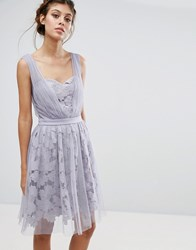 Little Mistress Lace And Tulle Overlay Dress With Gathered Straps Purple