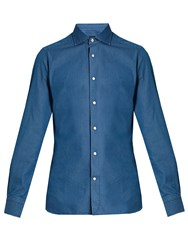 Ermenegildo Zegna Spread Collar Cotton Shirt Navy