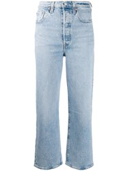 Levi's Cropped Straight Leg Jeans Blue