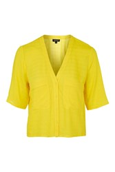 Topshop Double Pocket Cropped Shirt Bright Yellow