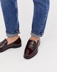 Ben Sherman Leather Penny Loafer In Bordo Red