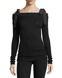 Rebecca Taylor Off The Shoulder Merino Wool Knit Pullover Sweater Black
