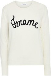 Frame Woman Intarsia Wool Blend Sweater Off White Off White