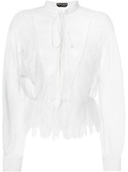 Rochas Lace Trim Sheer Blouse Nude And Neutrals