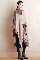 Anthropologie Cowled Cashmere Poncho Brown Motif
