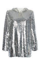 Msgm Hooded Sequin Top Silver