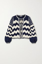 Ulla Johnson Yesenia Tie Front Crocheted Cotton And Wool Blend Cardigan Navy