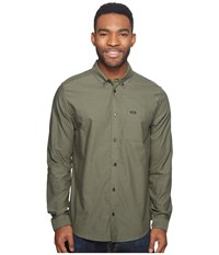 Rvca That'll Do Oxford Long Sleeve Fatigue Long Sleeve Button Up Green