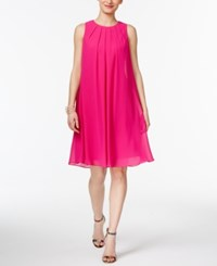 Inc International Concepts Pleated Trapeze Dress Only At Macy's Magenta Flame