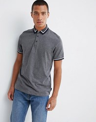 Ted Baker Tipped Jersey Polo Shirt In Grey