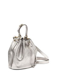 Il Bisonte Metallic Leather Drawstring Bucket Bag Silver