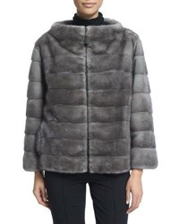 J. Mendel Zip Front Reversible Fur Jacket Blue Iris