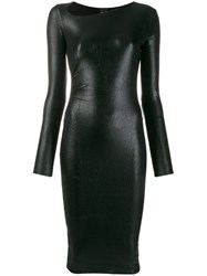 Pinko Long Sleeve Fitted Dress Black
