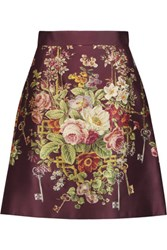 Dolce And Gabbana Printed Silk Wool Blend Satin Mini Skirt Multi