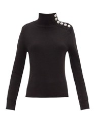 Paco Rabanne Milano Merino Wool Button Embellished Sweater Black