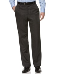 Kenneth Cole Reaction Straight Fit Texture Stria Flat Front Dress Pants Charcoal