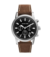 Michael Kors Scout Silver Tone Leather Watch Brown