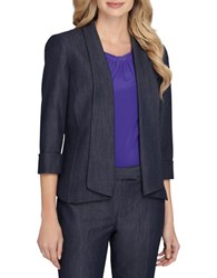 Tahari By Arthur S. Levine Petite Denim Open Front Jacket Chambray Blue