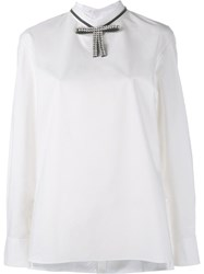Marni Embellished Bow Collar Blouse White