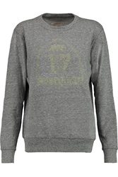 Current Elliott The Shrunken Jogger Printed Cotton Blend Jersey Sweatshirt Gray