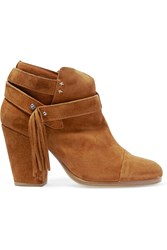 Rag And Bone Harrow Fringed Suede Ankle Boots Tan