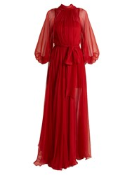 Maria Lucia Hohan Adeola Tie Waist Silk Mousseline Gown Red