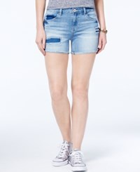 Vanilla Star Juniors' Ripped Raw Edge Denim Shorts Dixion Wash