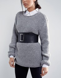 Asos Leather Soft Obi Belt With Oversized Buckle Black