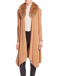 Alice Olivia Alka Fur Collar Long Cable Knit Cardigan Camel