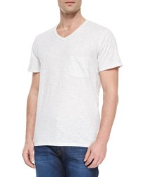 7 For All Mankind Raw Edge V Neck Tee White