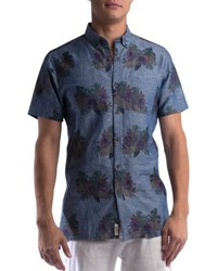 Civil Society Juanito Floral Print Short Sleeve Shirt Blue