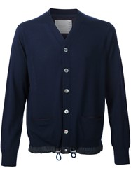 Sacai Elasticated Trim Cardigan Blue