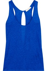Sandro Tawes Cutout Linen Jersey Tank Blue