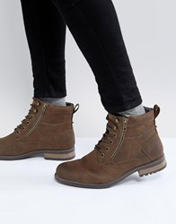 New Look Military Boot With In Brown Dark Brown