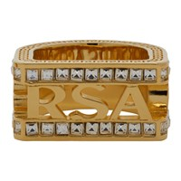 Versace Gold Crystal Cut Out Logo Ring