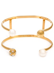 Nektar De Stagni Pearl Detail Double Cuff Yellow And Orange