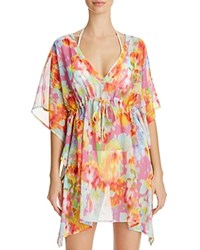 Echo Flowers In The Wind Butterfly Tunic Swim Cover Up Fuschia Flower