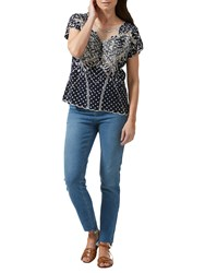 Sugarhill Boutique Butterfly Embroidered Polka Dot Top Navy